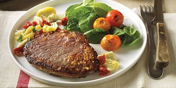 Parmesan-Crusted Beef Steaks with Mediterranean Relish