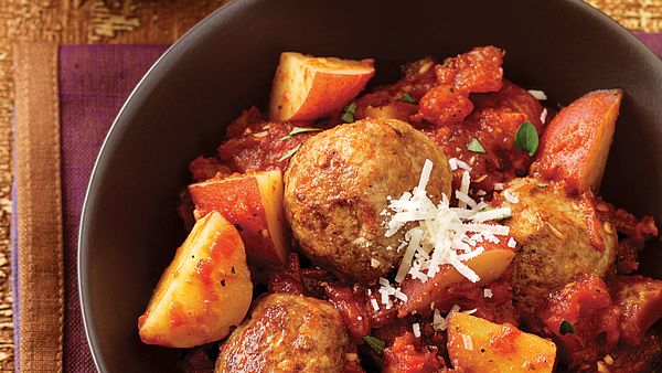 saucy-skillet-meatballs-and-potatoes