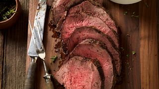 Thyme-Rubbed Beef Round Tip with Roasted Onion and Pear Wild Rice Horizontal