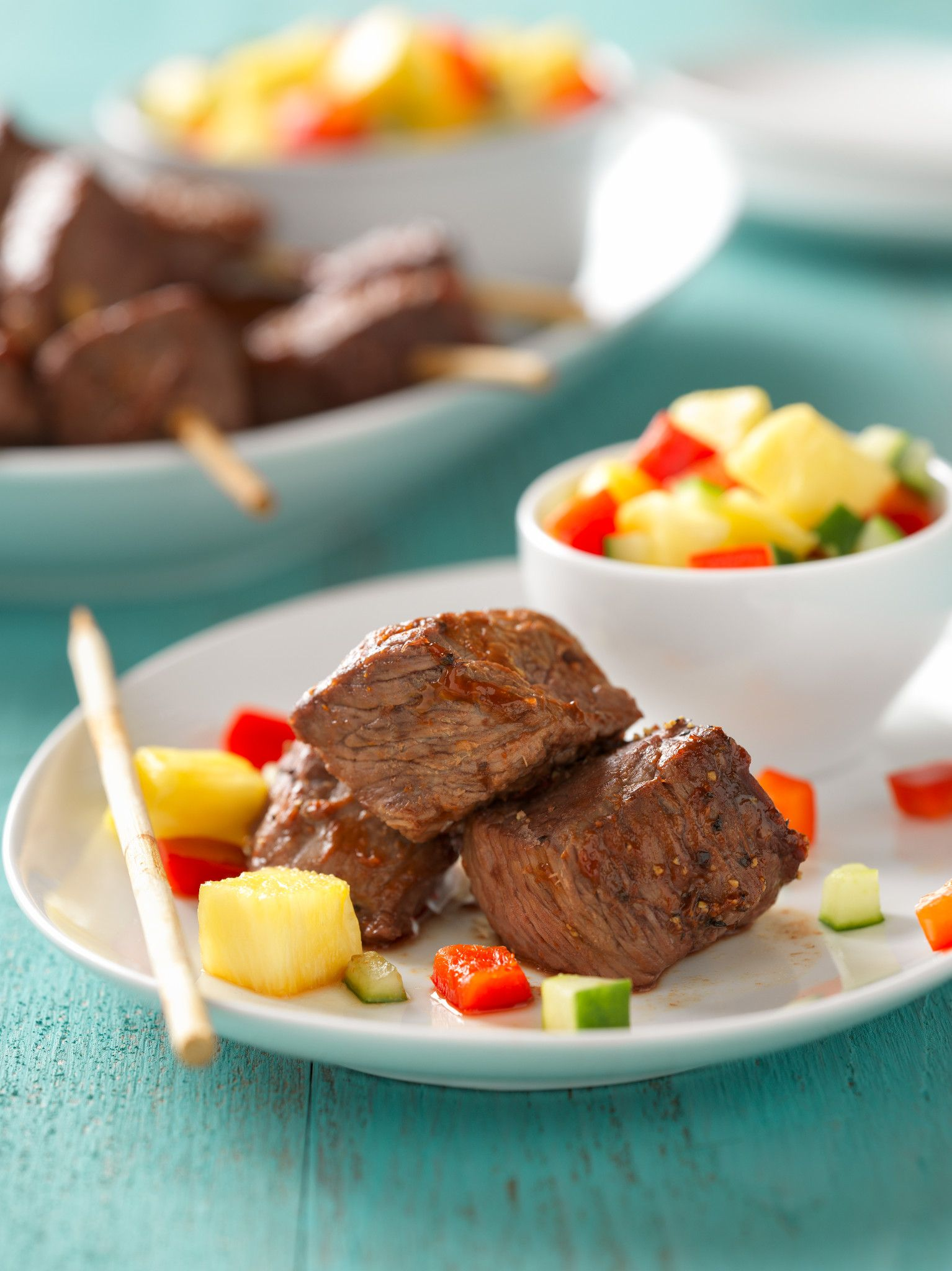 Hoisin BBQ Steak-On-A-Stick with Pineapple Salsa