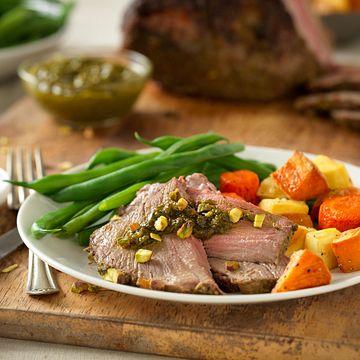 Herb-Crusted Beef Roast with Pistachio-Leek Pesto