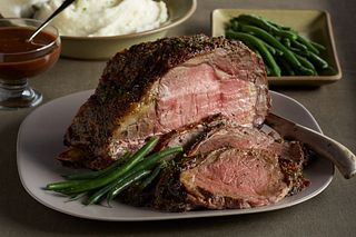 Black Tie Beef Roast with Chocolate-Port Sauce and Goat Cheese Mashed Potatoes