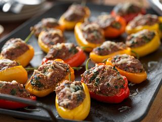Beef and Couscous Stuffed Baby Bell Peppers