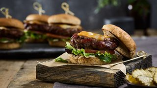 Beef Jerky Burger Sliders