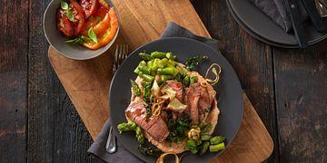 Smoky Sirloin Steak with Tomato Hummus