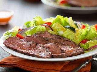 Caribbean Jerk Tri-Tip Over Basil Lime Salad