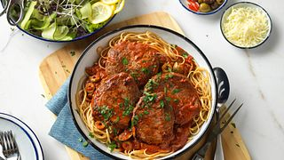 Mediterranean Steak and Pasta with Tomato-Olive Sauce