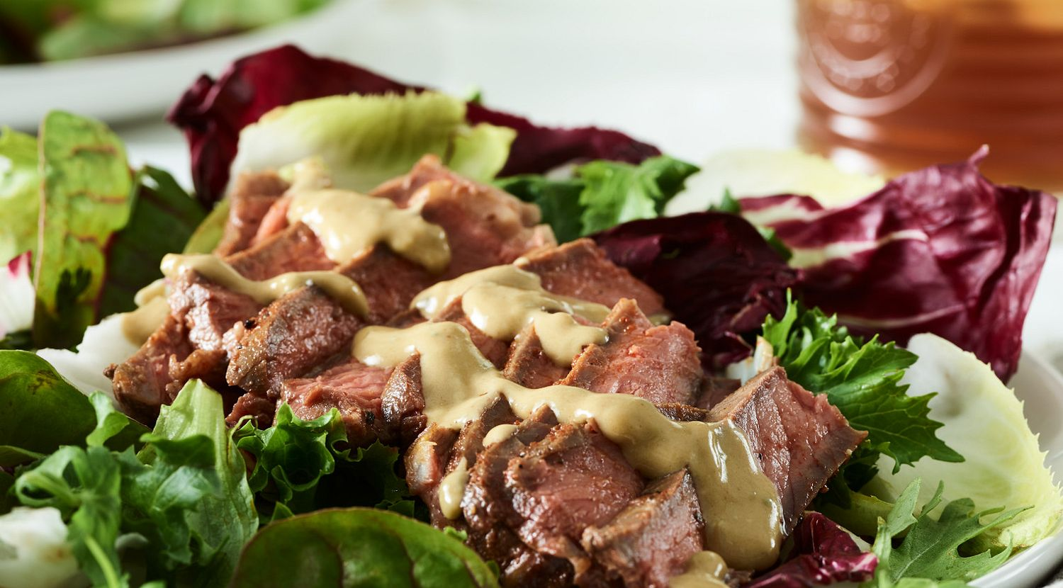 Smoked Strip Steaks with Blue Cheese Wine Sauce