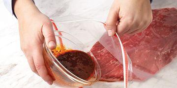 Lemon-Oregano Steak Marinade (How to Pour marinade into bag)