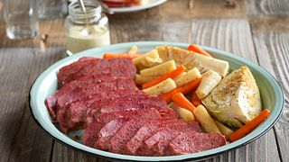 Corned Beef Brisket with Roasted Vegetables and Lemon-Mustard Sauce