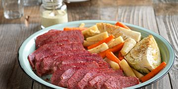 Corned Beef Brisket with Roasted Vegetables and Lemon-Mustard Sauce