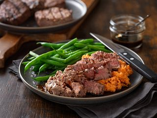 Espresso Bourbon Steaks with Mashed Sweet Potatoes