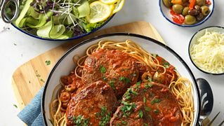 Mediterranean Steak and Pasta with Tomato-Olive Sauce