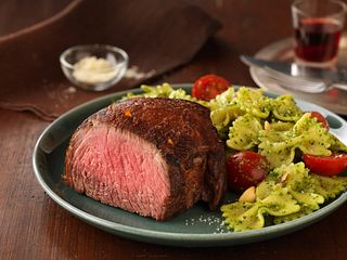 Top Sirloin Filets with Pasta and Spinach-Lemon Pesto