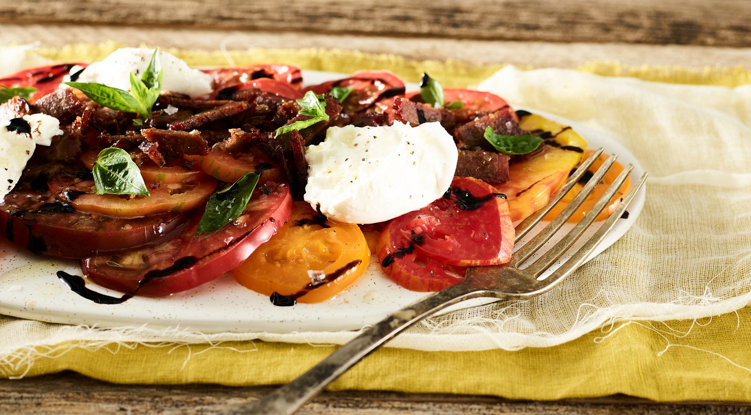 Crispy Beef Brisket and Heirloom Tomatoes with Burrata and Basil Oil