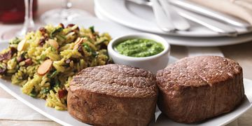 Two Steppin' Tenderloin (Tenderloin Steaks with Spinach-Almond Pesto and Brown Rice Pilaf)