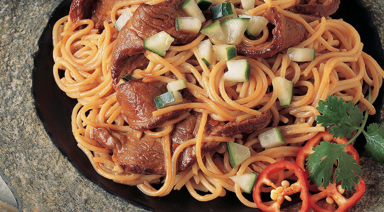 Beef & Pasta with Asian Peanut Sauce