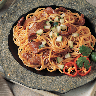 Beef and Pasta with Asian Peanut Sauce