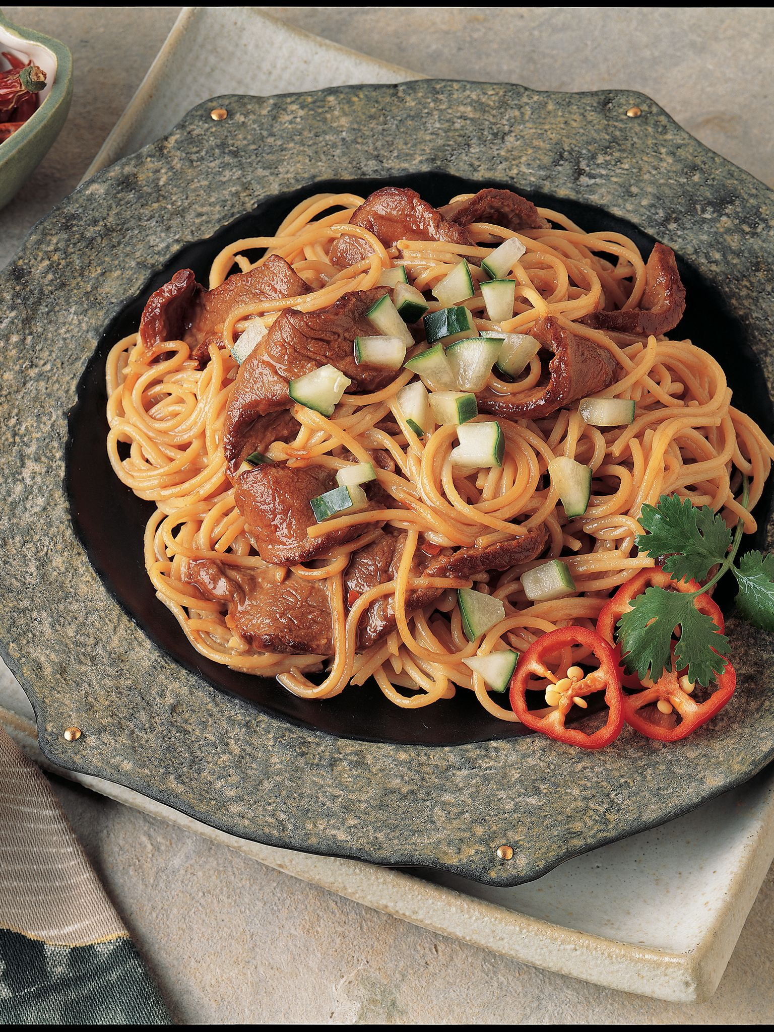 Beef & Pasta with Asian Peanut Sauce