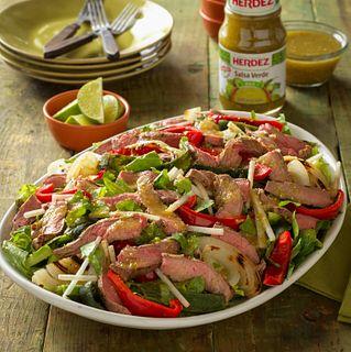 Beef Fajita Salad with Salsa Verde