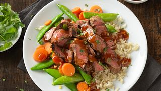 Steak with Ginger Plum Barbeque Sauce