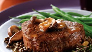 Beef Tenderloin Steaks with Mushroom Sauce and Lentils