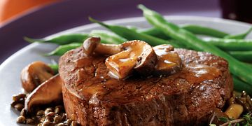 Beef Tenderloin with Savory Saucy Mushrooms and Lentils