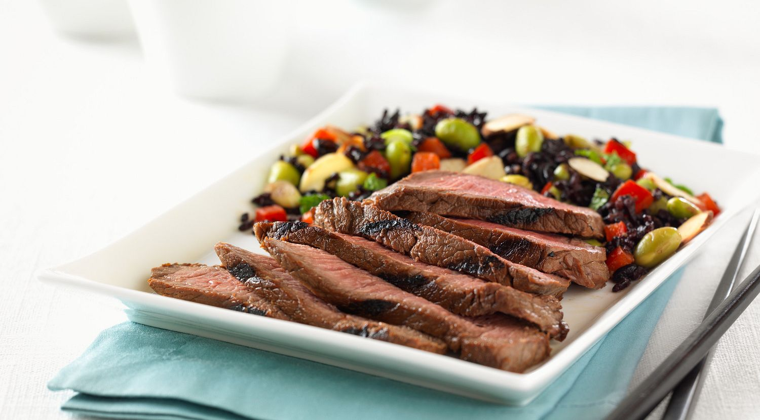 """Asian-Spiced Steak with """"Forbidden"""" Rice and Vegetable Salad"""