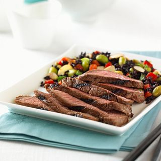 "Asian-Spiced Steak with ""Forbidden"" Rice and Vegetable Salad"