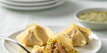 Beef and Shiitake Dumplings with Orange Ponzu Dipping Sauce