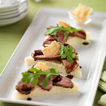Beef Crostini with Balsamic Drizzle & Parmesan Crisps