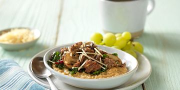 Beef, Mushroom and Greens Savory Oats