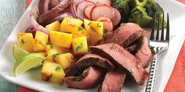 Beef Fajita Salad with Mango Serrano Vinaigrette