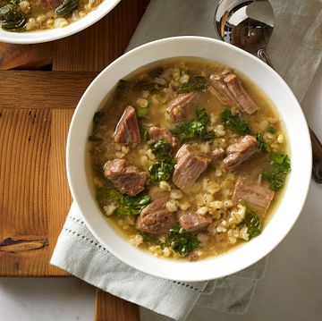 Beef and Barley Soup with Spinach