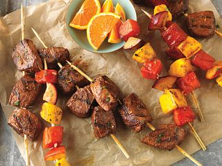 Citrus-Marinated Beef and Fruit Kabobs