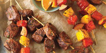 Citrus-Marinated Beef & Fruit Kabobs