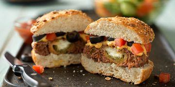 Cheesy Jalapeno Pepper-Stuffed Burgers