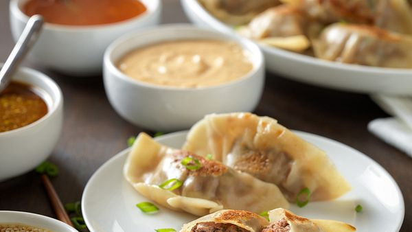 chinese-beef-pot-stickers-with-quartet-of-dipping-sauces-vertical