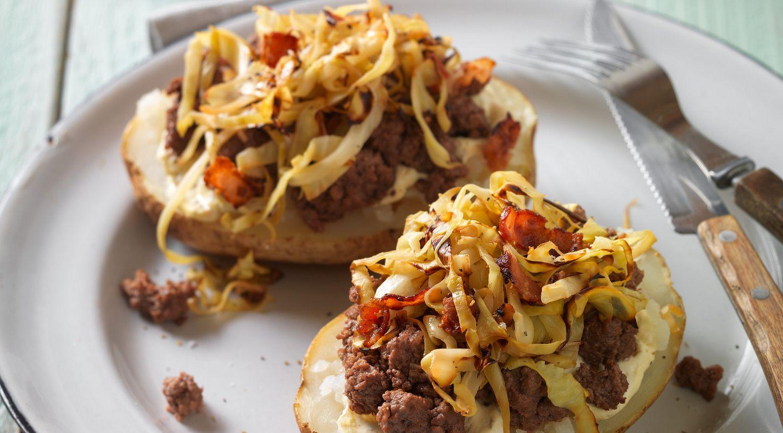 German-Style Beef Sausage Baked Potatoes