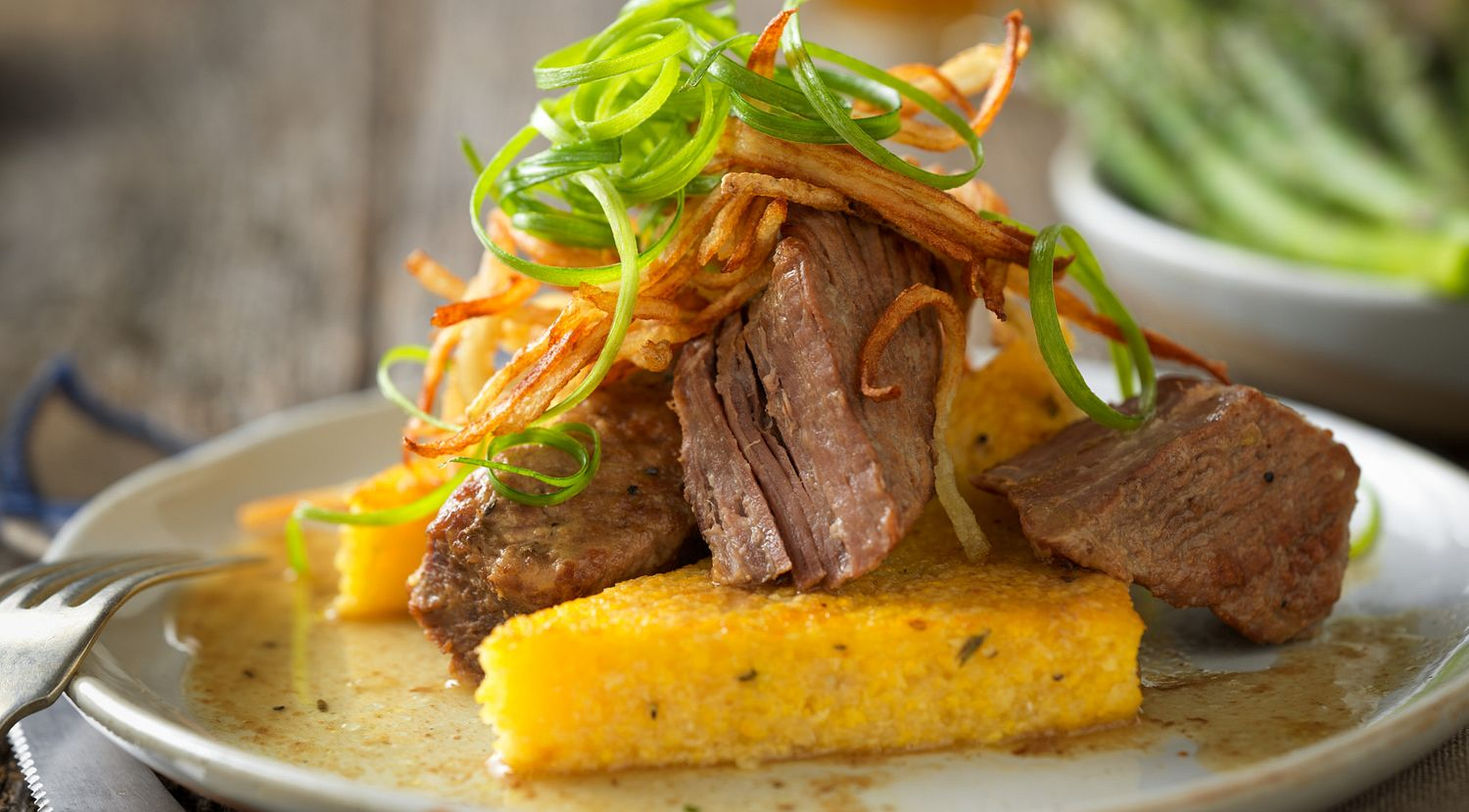 Slow-Cooked Red Wine Braised Beef Short Ribs with Herbed Polenta Toast