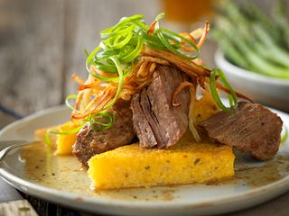Slow Cooked Red Wine Short Ribs with Herbed Polenta Toast