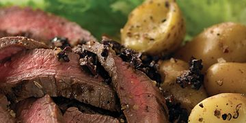 Caesar Beef Steak with Chunky Olive Tapendade