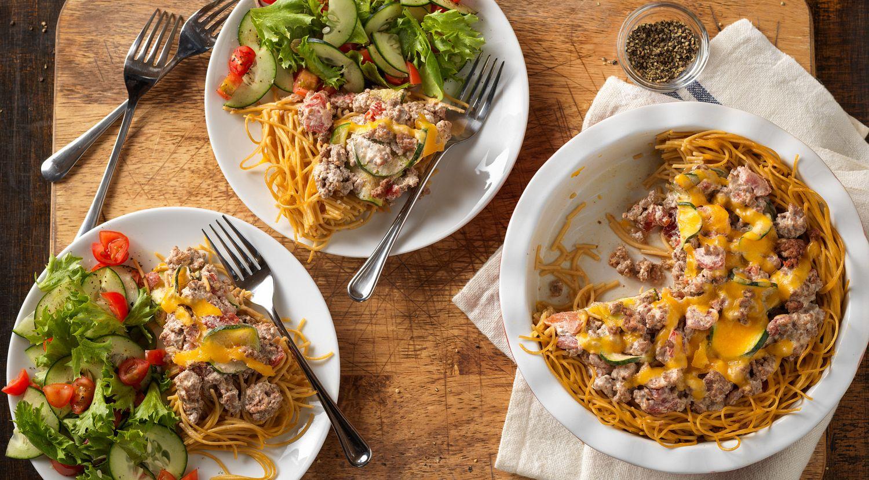 Beef Spaghetti Pie Olé