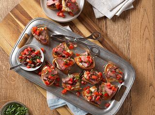 Beef Bruschetta with Roasted Garlic-Feta Spread