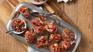 Beef Bruschetta with Roasted Garlic-Feta Spread