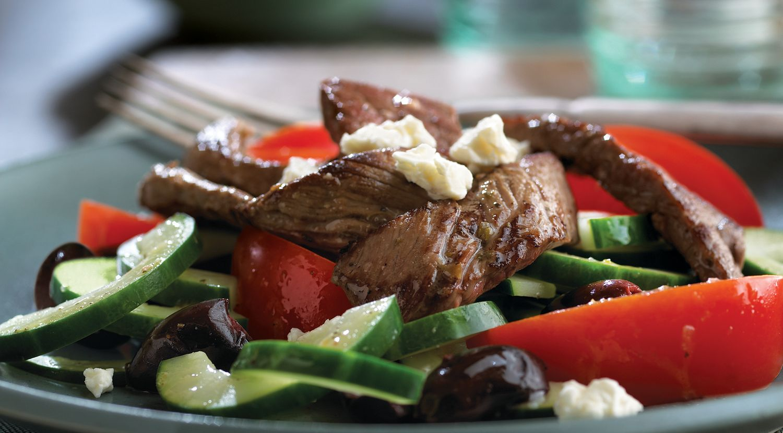 Grecian Beef, Tomato & Cucumber Salad
