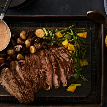 Six Chile Beef Flank Steak with Southwest Tomato Cream and Roasted Potatoes and Vegetables