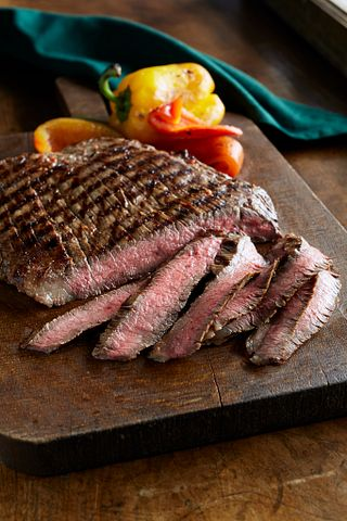 Southwest Marinated Beef Flank Steak and Grilled Peppers