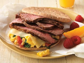 Beef and Spinach Breakfast Sandwich
