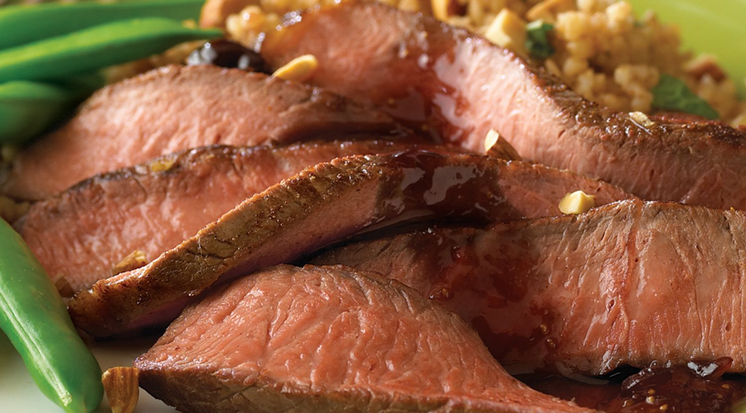 Turkish-Style Sirloin with Roasted Garlic-Fig Sauce
